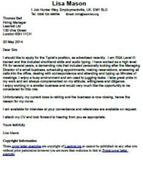 Cover letter writing examples format